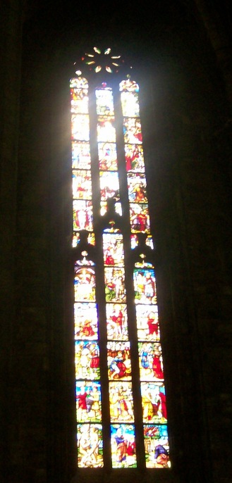 Tinted Glasswork inside the Duomo, Milan